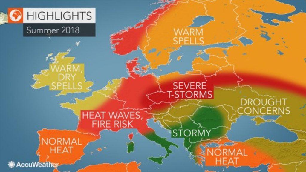 AccuWeather ја објави летната прогноза, на Балканот бури и дождови и по пет денови непрекинато