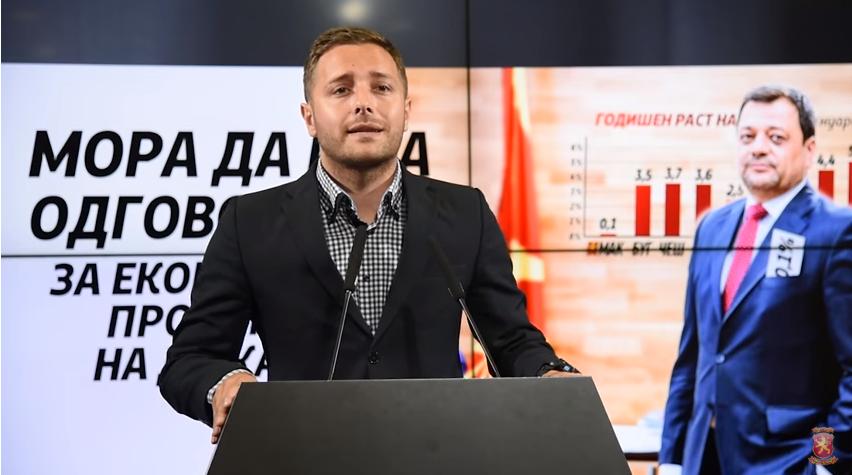 ВМРО-ДПМНЕ: Анѓушев да поднесе оставка поради лагите за расцветана економија