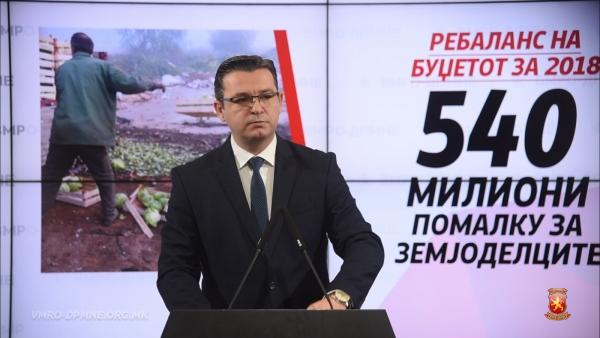 ЦВЕТАН ТРИПУНОВСКИ, ВМРО-ДПМНЕ: Со ребалансот земјоделците покуси за 540 милиони денари