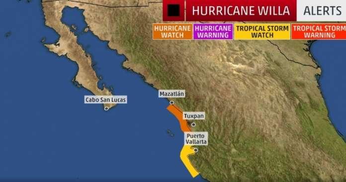 """Ураганот """"Виља"""" добива на интензитет и се приближува до Мексико"""