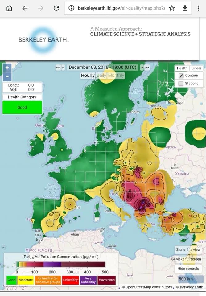 Мапа за загаденоста во Европа на 3 ноември: Македонија е со најтемна боја со најзагаден воздух