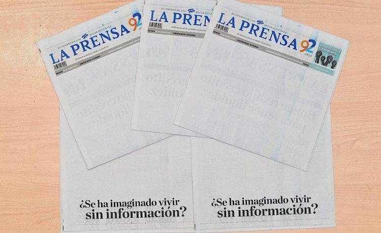 Весник во Никарагва објави издание со празна насловна страница