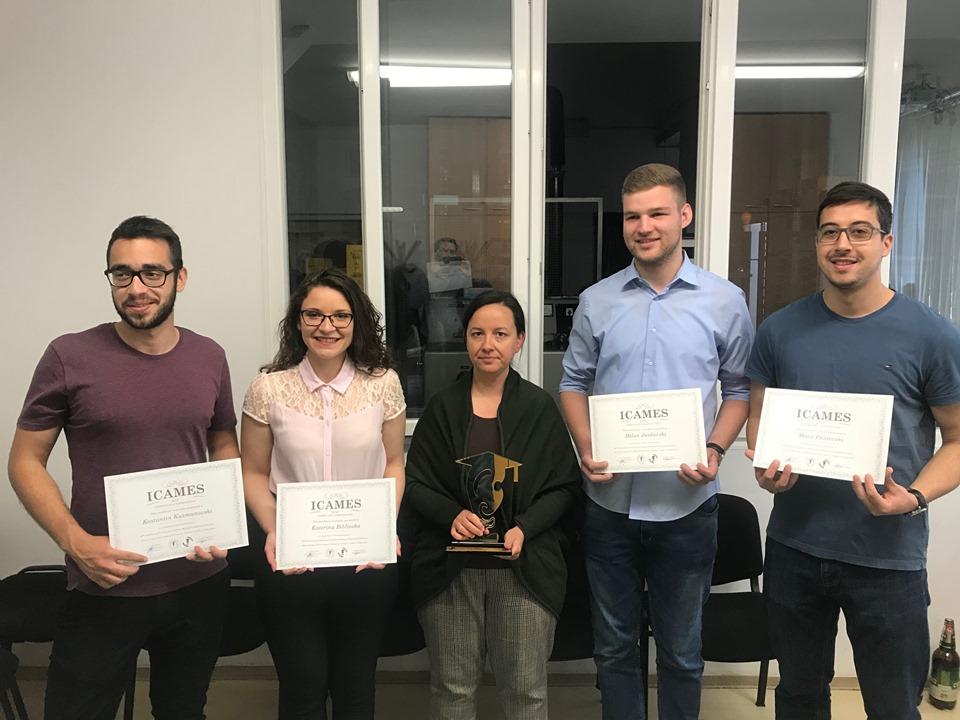 Меѓународно признание: Македонски студенти од ФЕИТсо награда за најдобар проект на ICAMES 2019