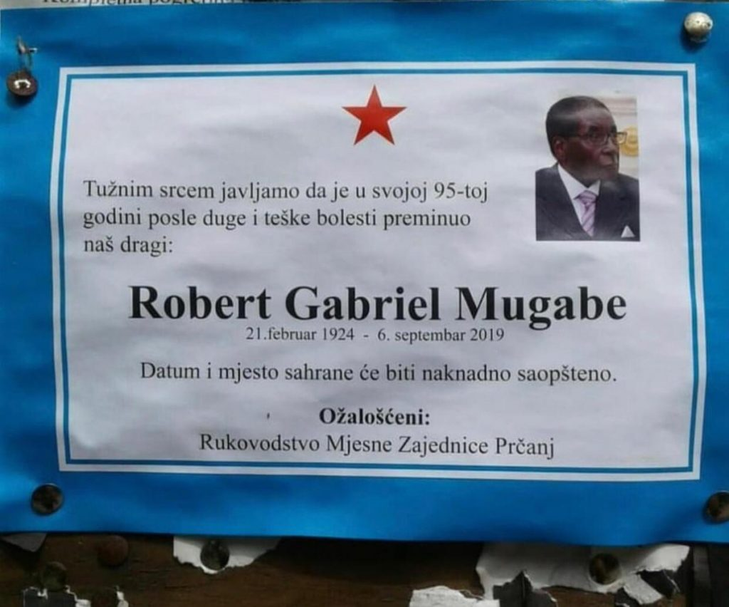 НЕКРОЛОГ ВО ЦРНА ГОРА: Црногорци се простуваат од африканскиот диктатор Мугабе