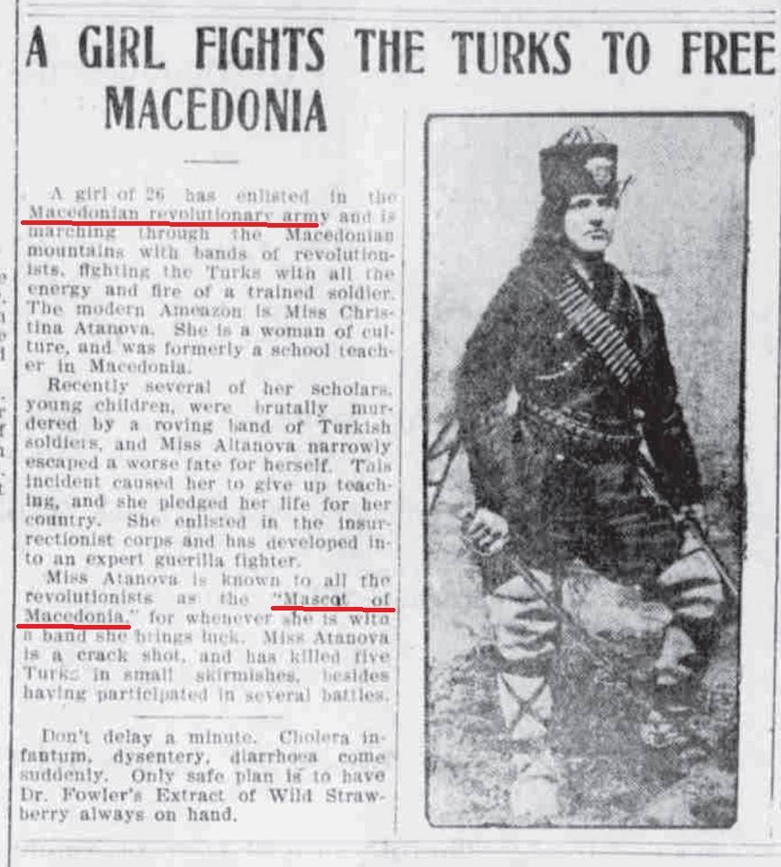 """The Syracuse New York Daily Journal"", 8. септември 1905, за македонската амазонка Кристина Алтанова"