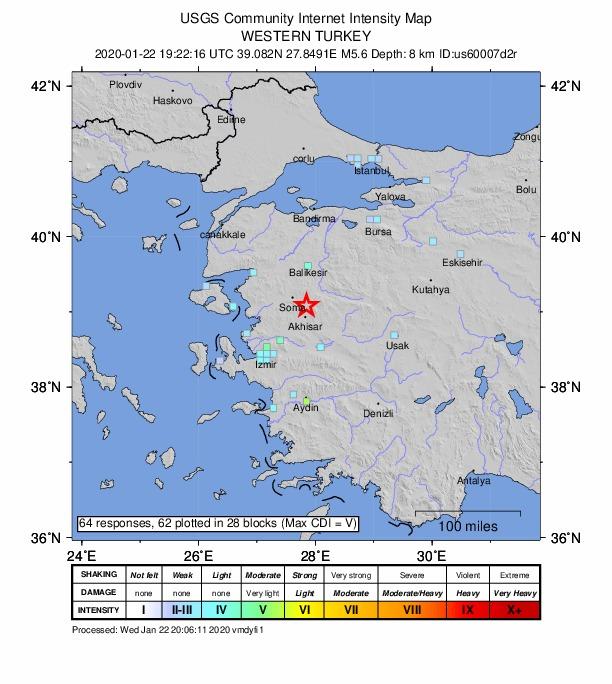 Земјотрес со сила од 5,6 степени во близина на Измир