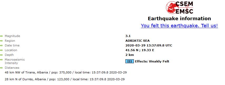 Земјотрес од 3,1 степен 48 км од Тирана
