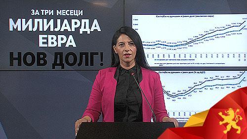 ИЛИЕВСКА: Владата за 3 месеци секое семејство во Македонија го задолжи по 2.000 евра и сега јавниот долг на државата е 6,5 милијарди евра