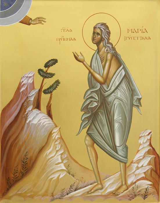 СВ. МАРИЈА ЕГИПЕТСКА: Молејќи се на Пречистата побара да го целива Чесниот Крст, исповедајќи ја својата грешност и нечистотија