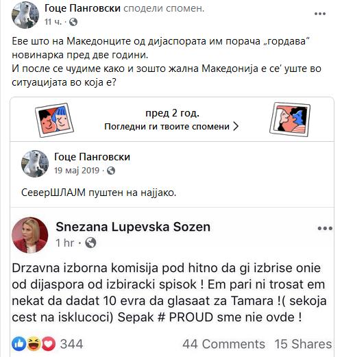 Панговски не потсети на барањето на Лупевска дијаспората да биде избришана од избирачкиот список заради Тамара