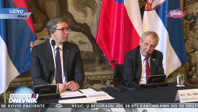 Земан му се извини на Вучиќ за учеството на Чешка во бомбардирањето на СРЈ во 1999 г.