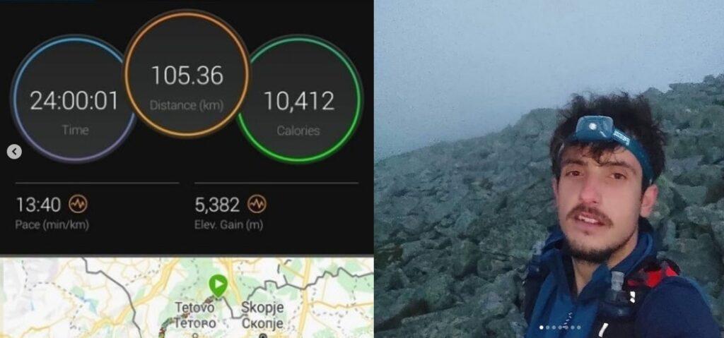 САМ В ПЛАНИНА: За 24 часа изминал 105 километри, од Љуботен до Маврово